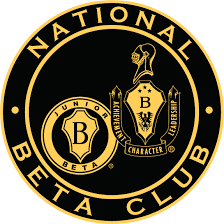 The Beta logo is black and gold and has both the junior and senior Beta seals on it