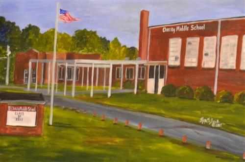 A portrait of Charity Middle School features the front of the building