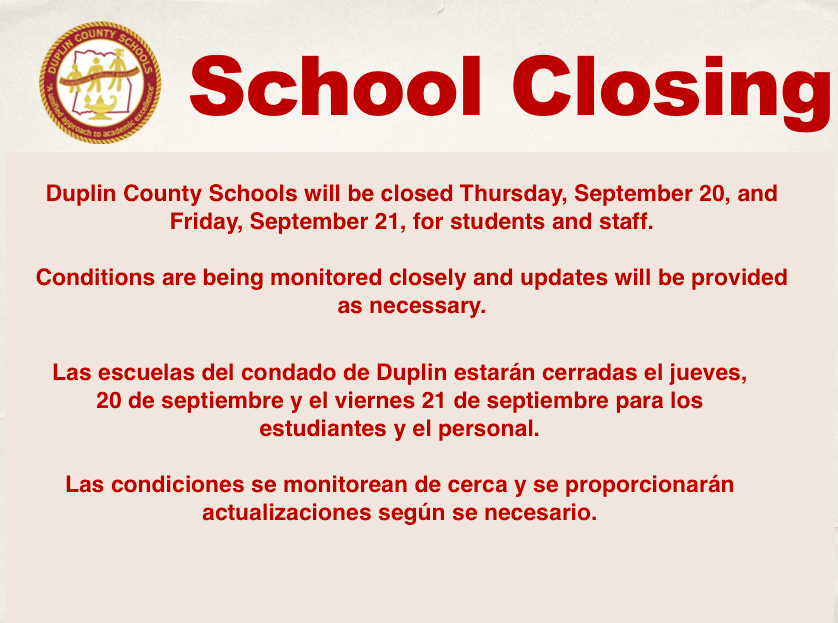 DCS will be closed September 20th & 21st for student and staff.