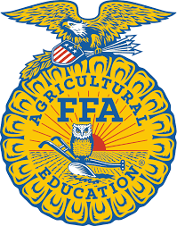 The FFA logo is blue, gold, black and red, with an owl and an old fashioned plow and sunrise