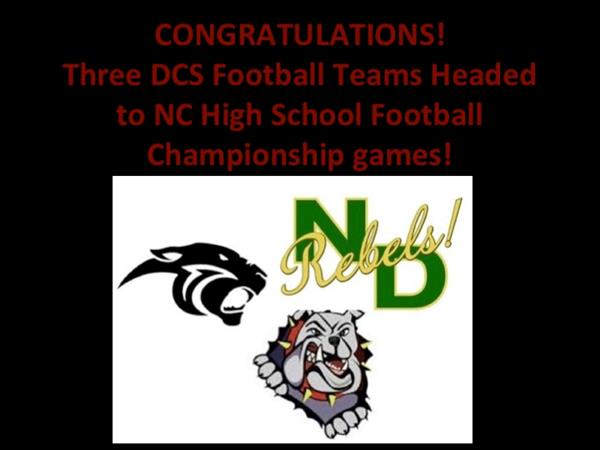 Three DCS Football Teams Headed to NC High School Football State Championship Games