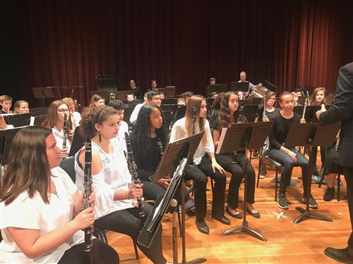 All County Band students prepare to plan one of several musical selections