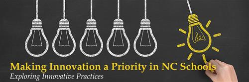 The Making Innovation a Priority in NC Schools logo features light bulbs representing ideas