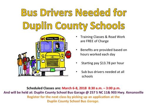 Interested in driving a bus for Duplin County Schools with a beginning salary of $13.78 an hour?