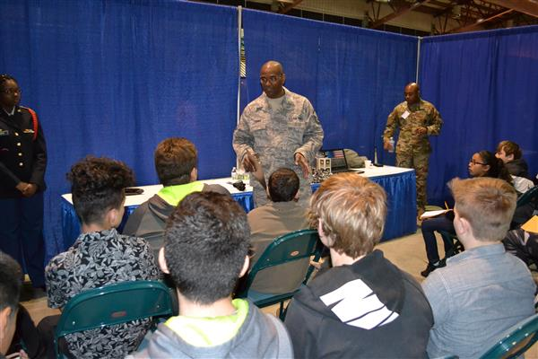 Members of the Armed Forces share information with students during the College and Career Fair
