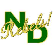 North Duplin Jr Sr logo is green and gold with the letters ND and the word rebels