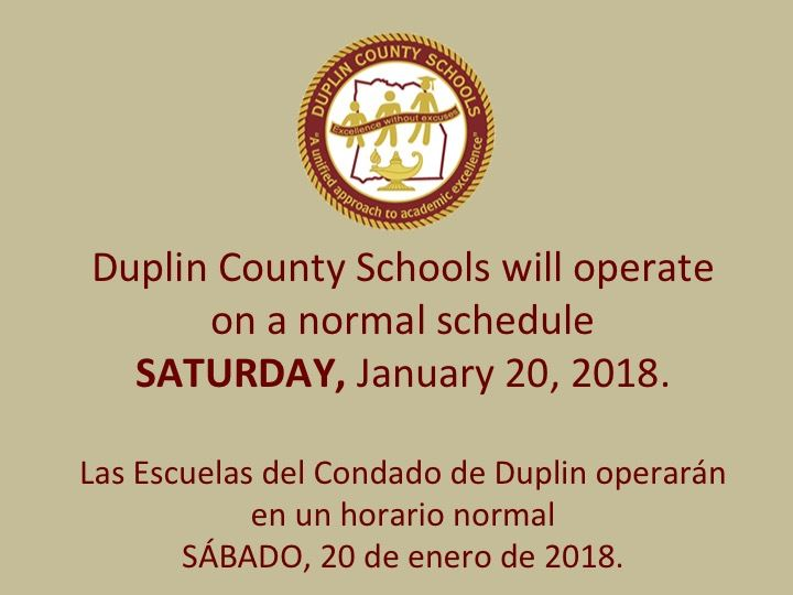 DCS will operate on a normal schedule Saturday, January 20, 2018