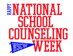 National School Counseling Week logo is red, white and blue