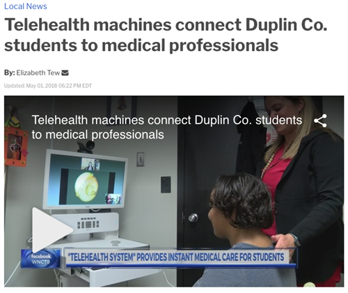 A screenshot from WNCT9 featuring DCS Telehealth
