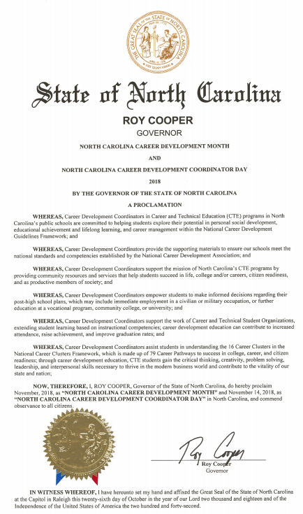 Governor Roy Cooper's CTE Proclamation