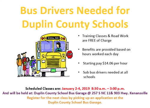 DCS Bus Drivers Needed! Classes are Free! Come Join an Excellent Team!