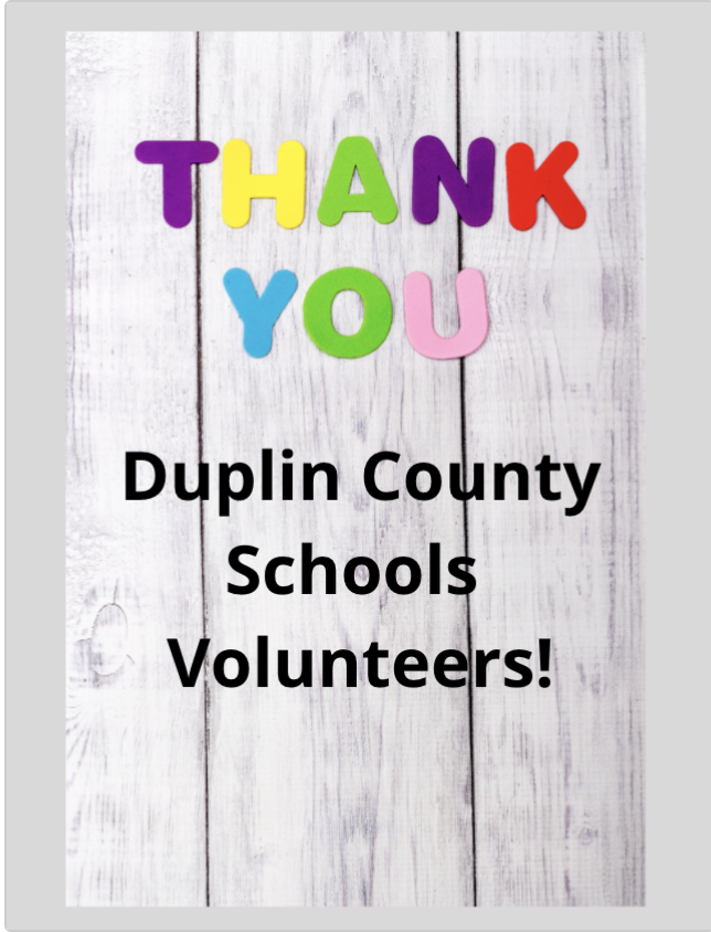 Image reading, Thank you Duplin County Schools Volunteers