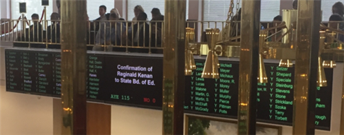 Sign at NC Legislature confirming Mr. Kenan's reappointment.