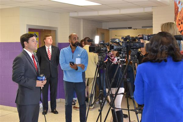 Superintendent Johnson addresses the press during a recent visit to Duplin County Schools.