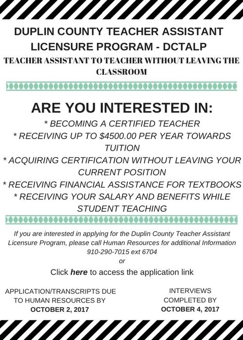 TA to Teacher Flyer detailing the process
