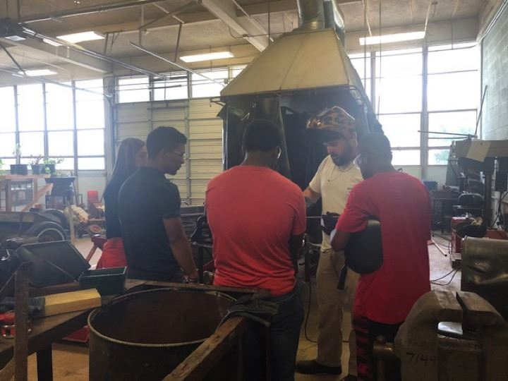 Students learn about welding as part of STEM Camp.