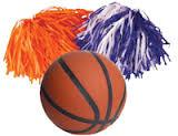 Art contains a basketball and two pom poms