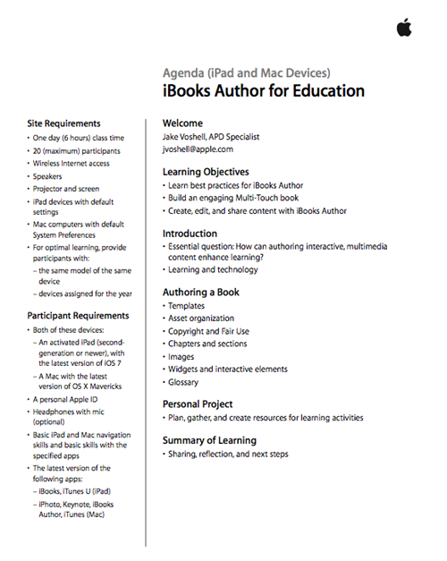 iBook Author Agenda