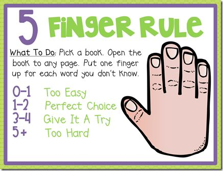 Remember to use the five finger rule for choosing any book.