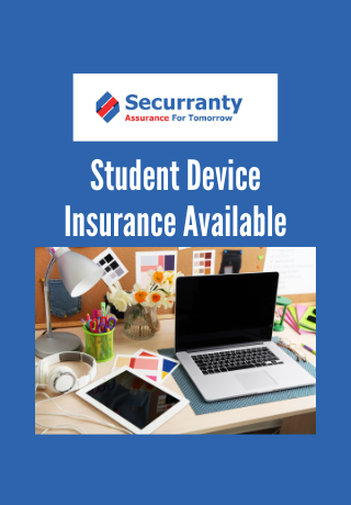 Seccuranty Student Device Insurance Available and image of laptop