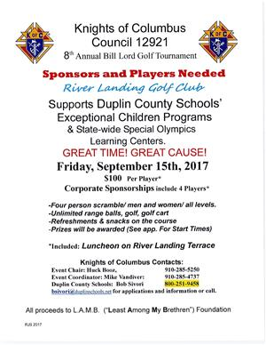 Knights of Columbus flyer details upcoming Golf Tournament to benefit EC Programs.  All info included in story