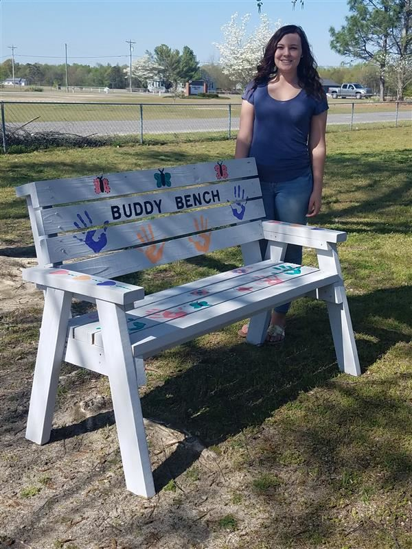 Brianna Lee, a senior at ND Jr/Sr created Buddy Benches as a part of her senior project to place on