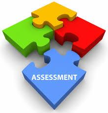 4 colorful puzzle pieces with the word assessment on one