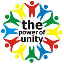 The words The Power of Unity are in the middle of clip art of colorful people holding hands
