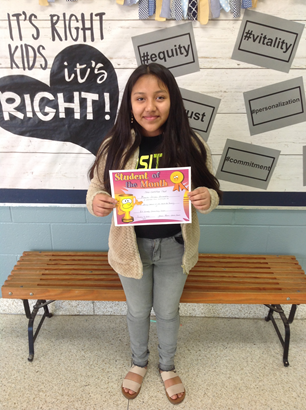 Congratulations to B. F. Grady's Student of the Month - Monica Deleon-Hernandez