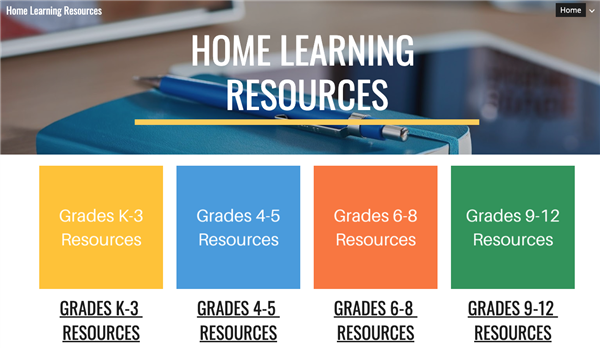 Image of Home Learning Resource site
