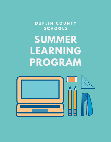 A summer learning program flyer with picture of computer, pencils, eraser, and stapler.